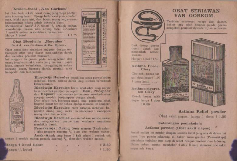 Hikayat Kali Code [4 ] Apotheek Van Gorkom , Produk Farmasi yang Dihasilkan