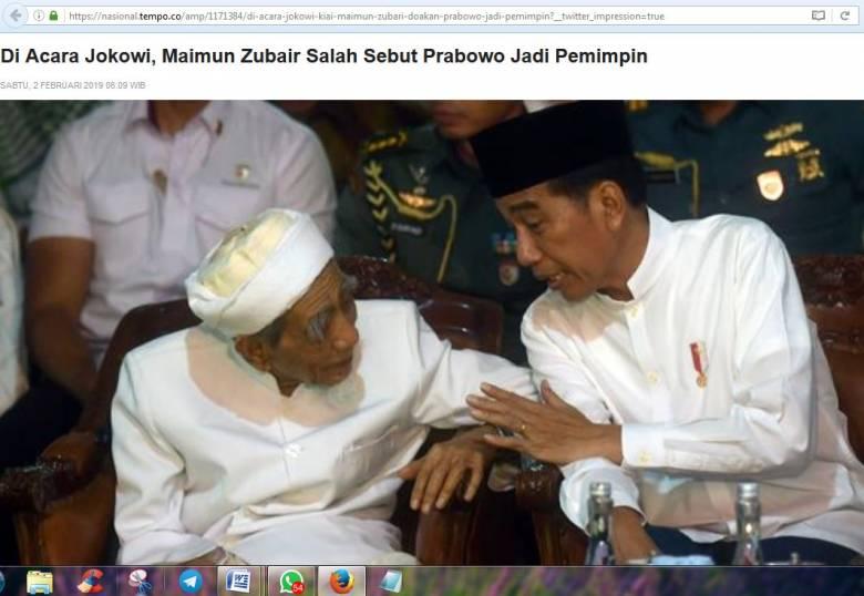 Ulama Sepuh Maimoen Zubair pun Mendoakan Prabowo di Depan Jokowi