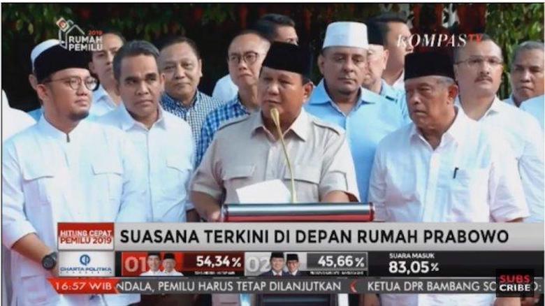 Kumat Lagi, Prabowo Klaim Menang Pilpres