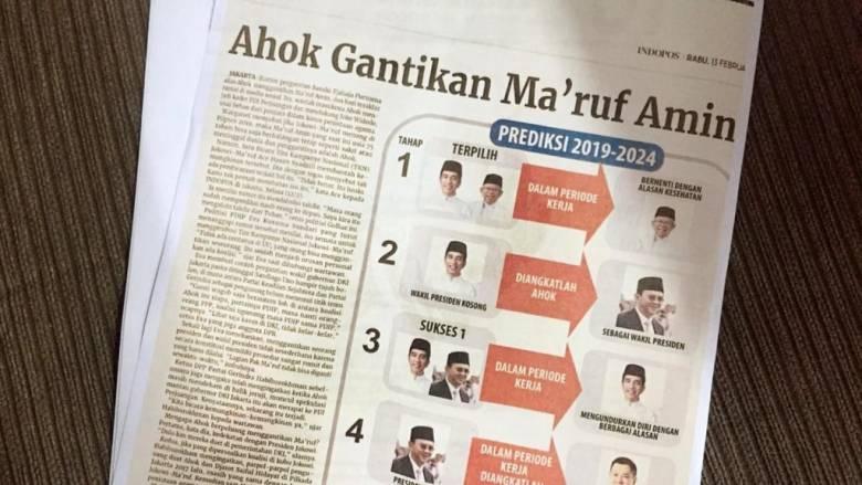 Di Balik Koran Indopos Beritakan Ahok Gantikan Ma'ruf sebagai Wapres